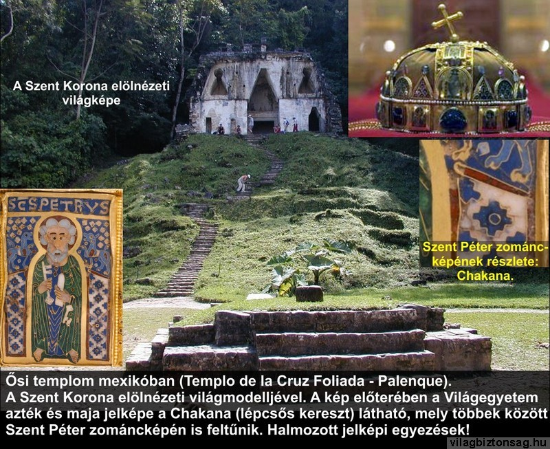 Ősi templom Mexikóban a Szent Korona elölnézeti világmodelljével