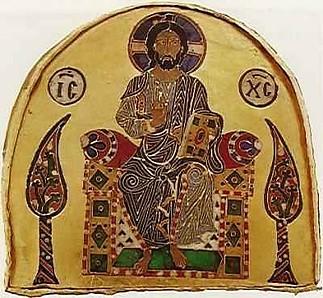 Alsó Pantokrátor - Ítélő Krisztus-ábrázolás a Szent Koronán. Kezében magot tart, a trón két oldalán 'Élet -és Tudásfa' motívumokkal.