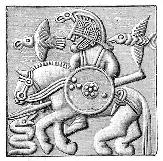 Odin loával, a két hollóval és kígyóval ábrázolva