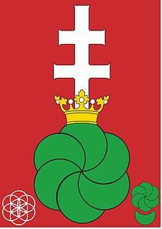 címer hatalommal, tekerőlevéllel